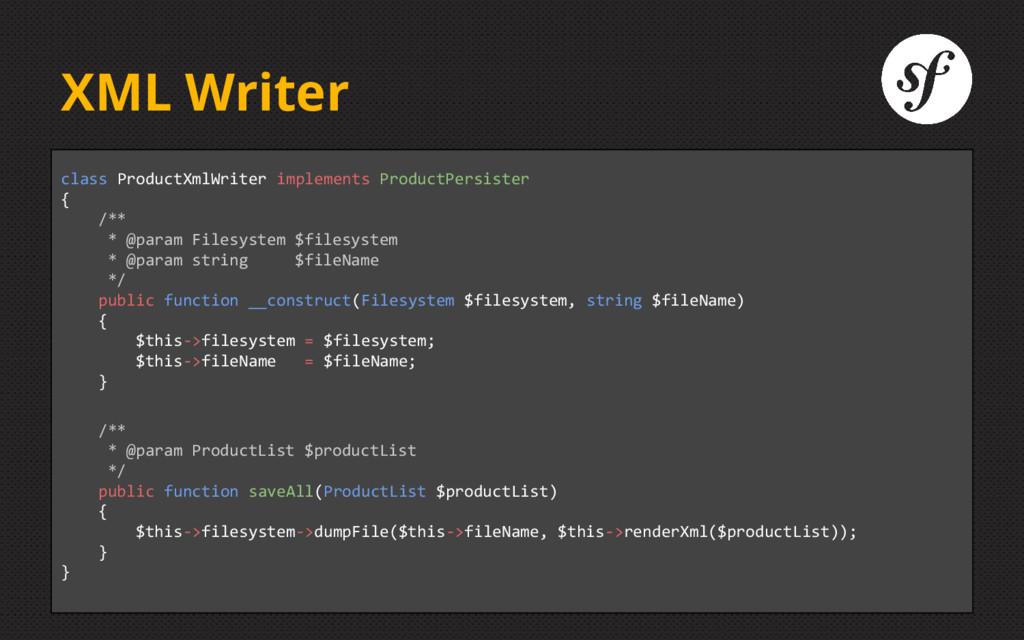 XML Writer class ProductXmlWriter implements Pr...