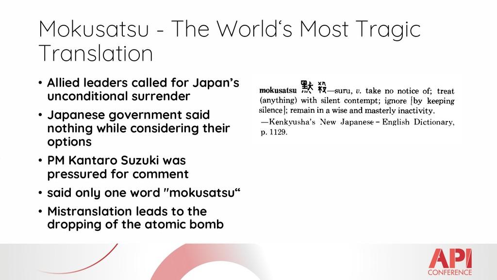 Mokusatsu - The World's Most Tragic Translation...