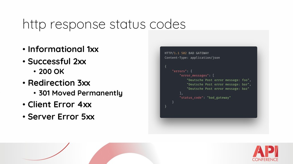 http response status codes • Informational 1xx ...