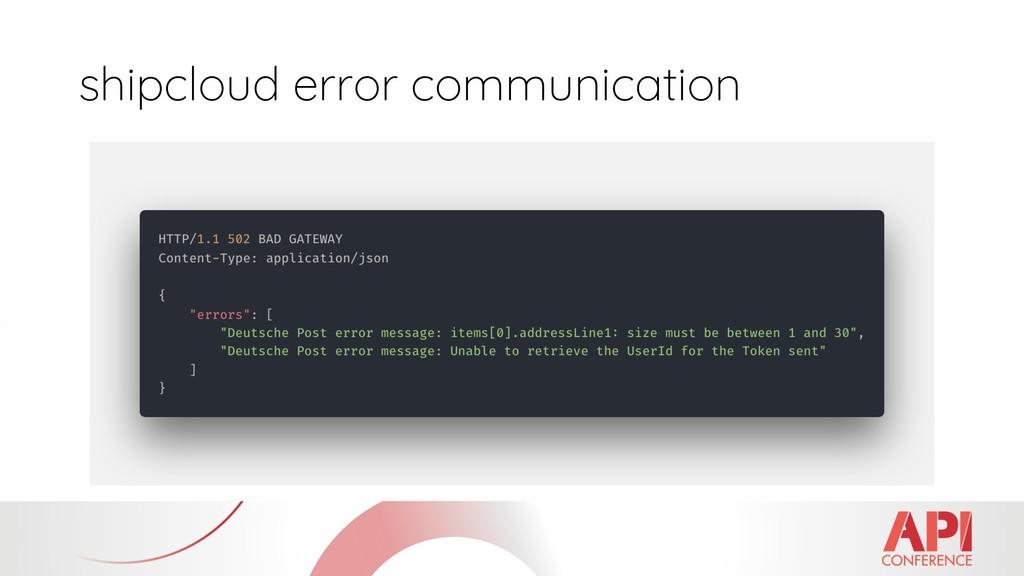 shipcloud error communication