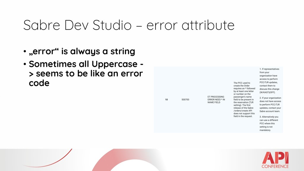 """Sabre Dev Studio – error attribute • """"error"""" is..."""