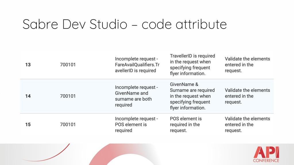 Sabre Dev Studio – code attribute