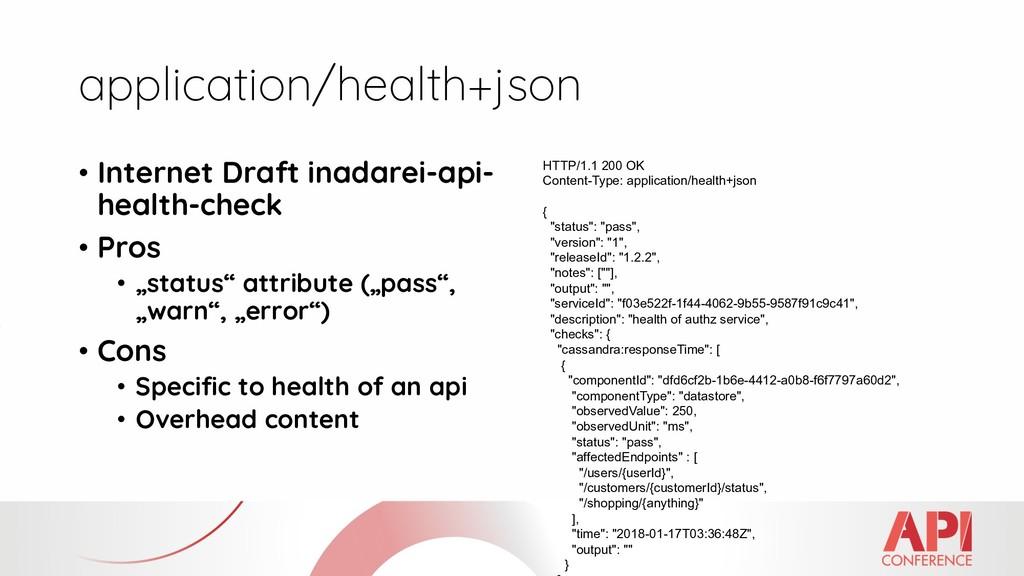 application/health+json • Internet Draft inadar...