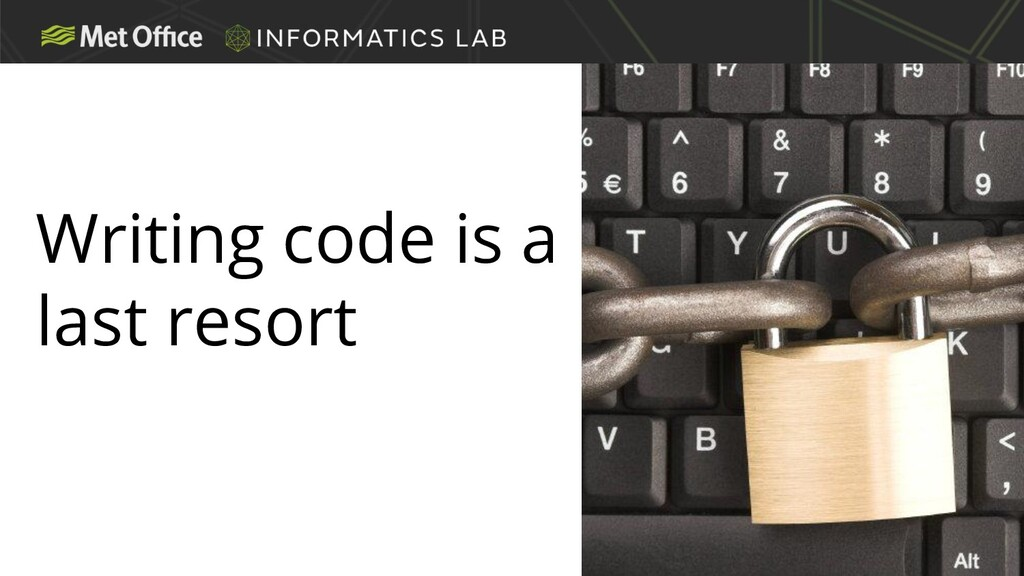 Writing code is a last resort