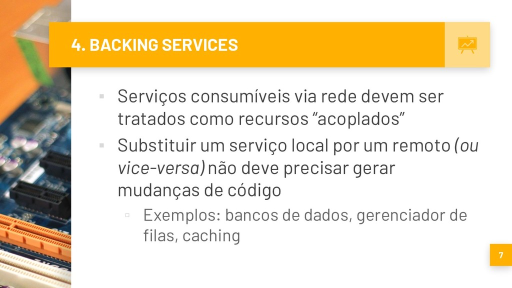 4. BACKING SERVICES ▪ Serviços consumíveis via ...