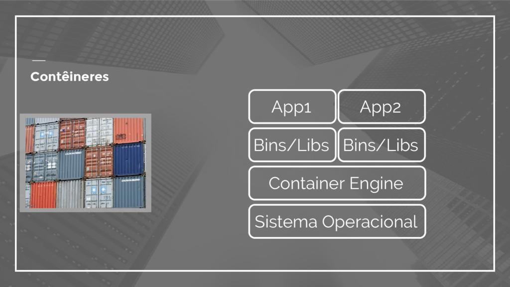 Contêineres Container Engine App1 App2 Sistema ...