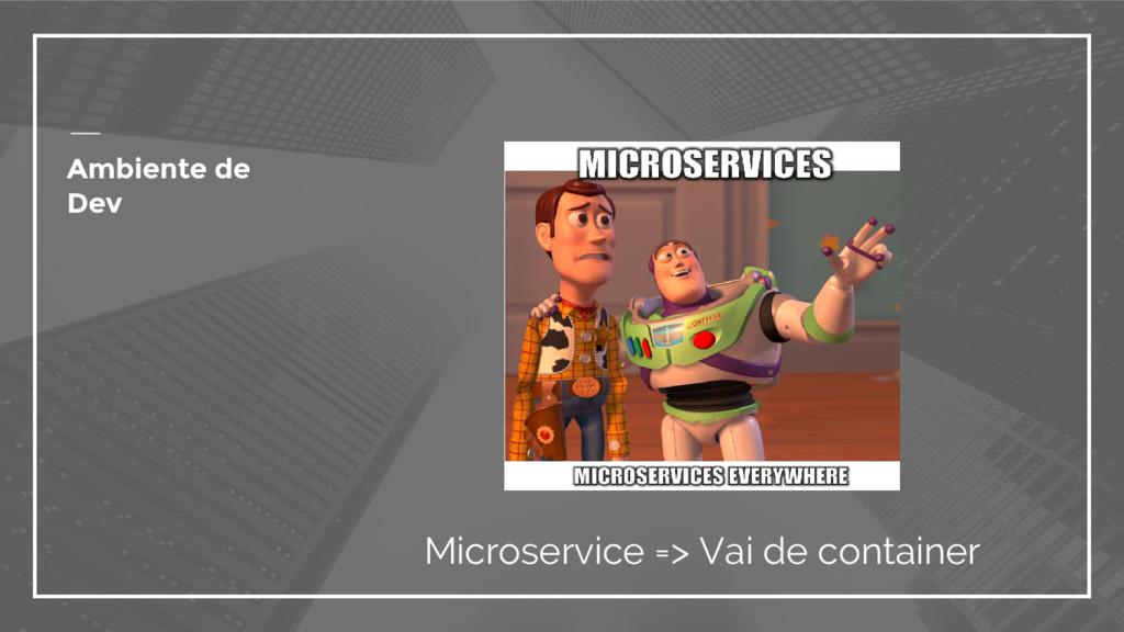 Ambiente de Dev Microservice => Vai de container