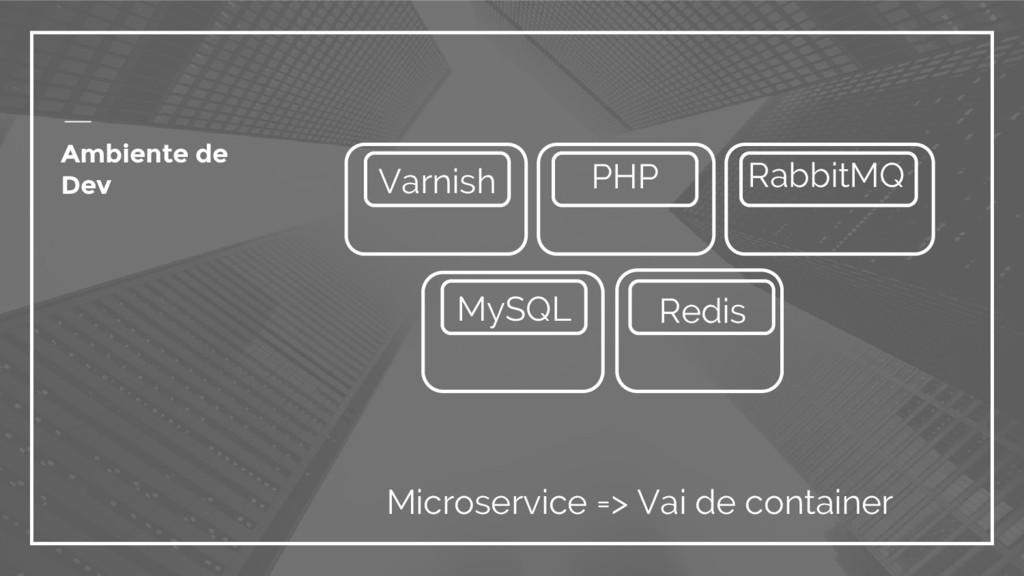 Ambiente de Dev Microservice => Vai de containe...