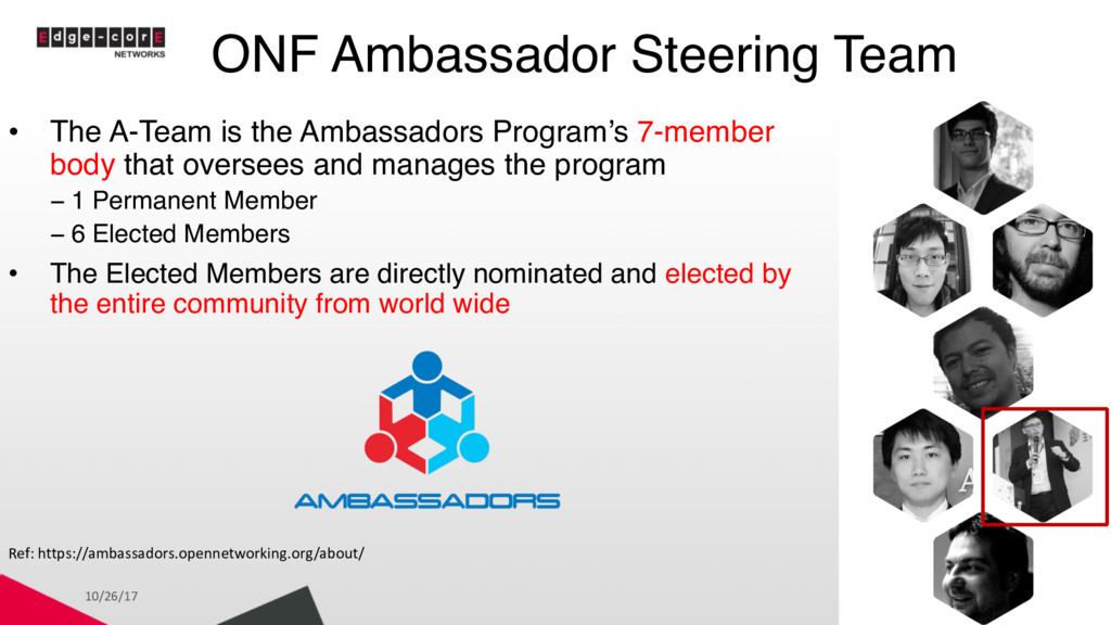 ONF Ambassador Steering Team 10/26/17 3 • The A...