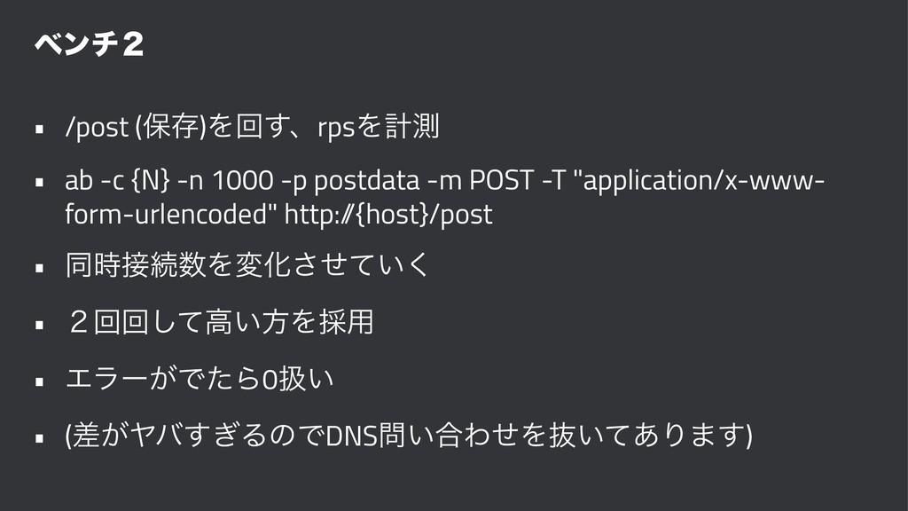 ϕϯν̎ • /post (อଘ)Λճ͢ɺrpsΛܭଌ • ab -c {N} -n 1000...