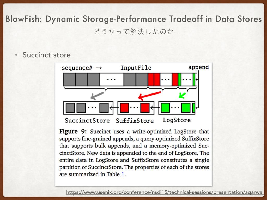 • Succinct store BlowFish: Dynamic Storage-Perf...
