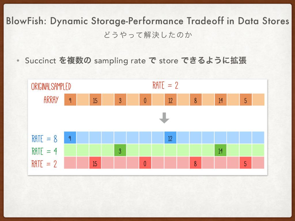 • Succinct Λෳͷ sampling rate Ͱ store Ͱ͖ΔΑ͏ʹ֦ு ...