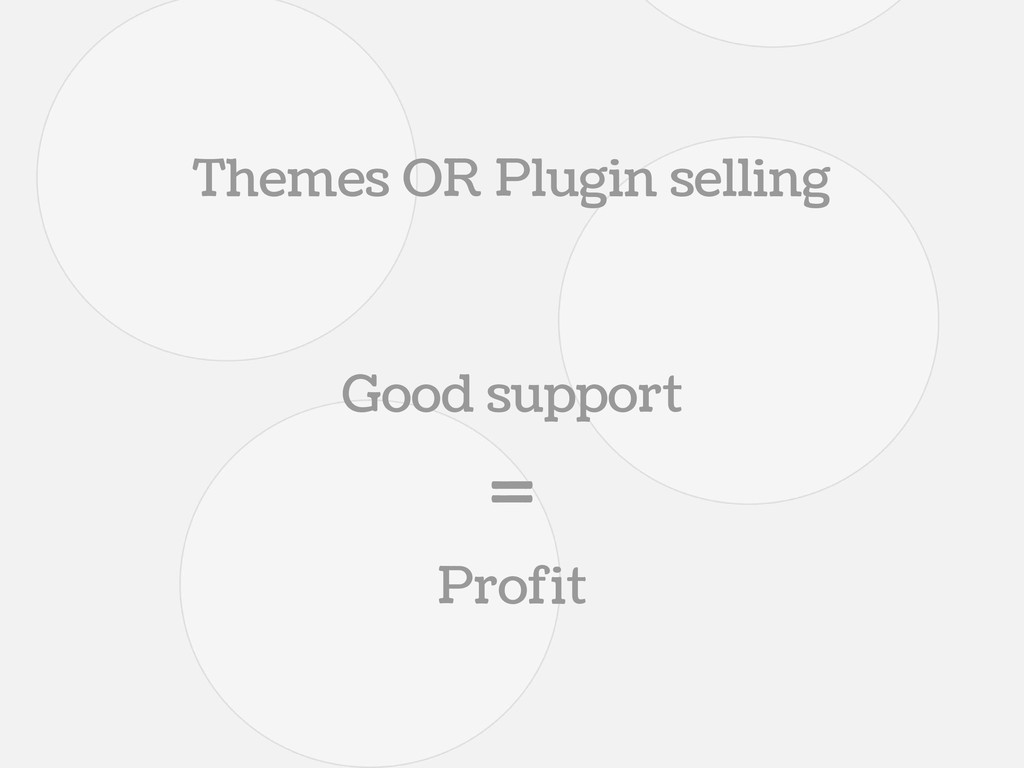 Themes OR Plugin selling Good support = Profit