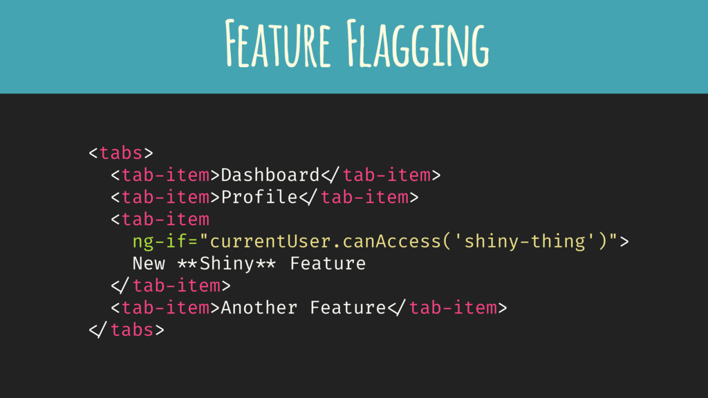 Feature Flagging <tabs> <tab-item>Dashboard </t...