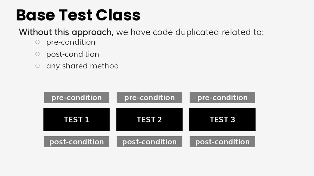 Base Test Class Without this approach, we have ...