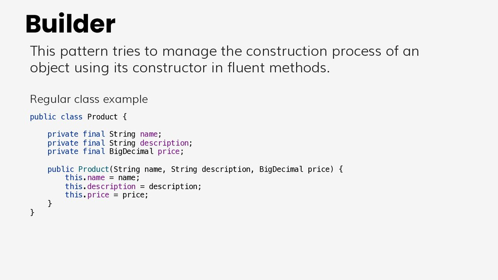 Builder This pattern tries to manage the constr...