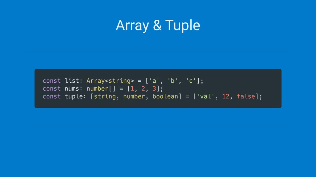 Array & Tuple