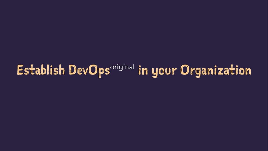 Establish DevOpsoriginal in your Organization S...