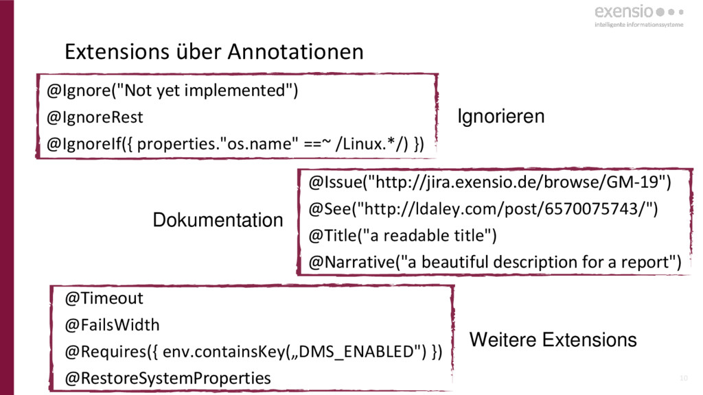 """10 Extensions über Annotationen @Ignore(""""Not ye..."""