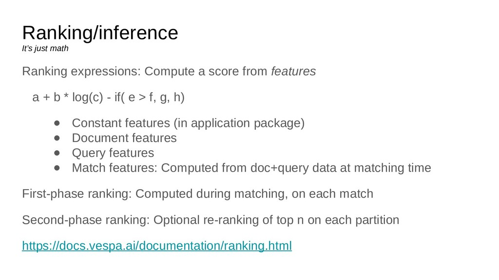 Ranking/inference It's just math Ranking expres...