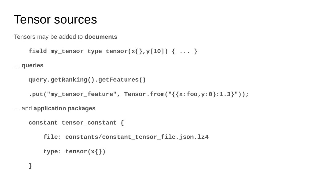 Tensor sources Tensors may be added to document...