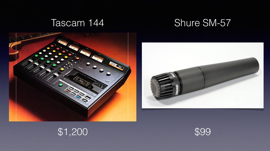 $1,200 $99 Shure SM-57 Tascam 144