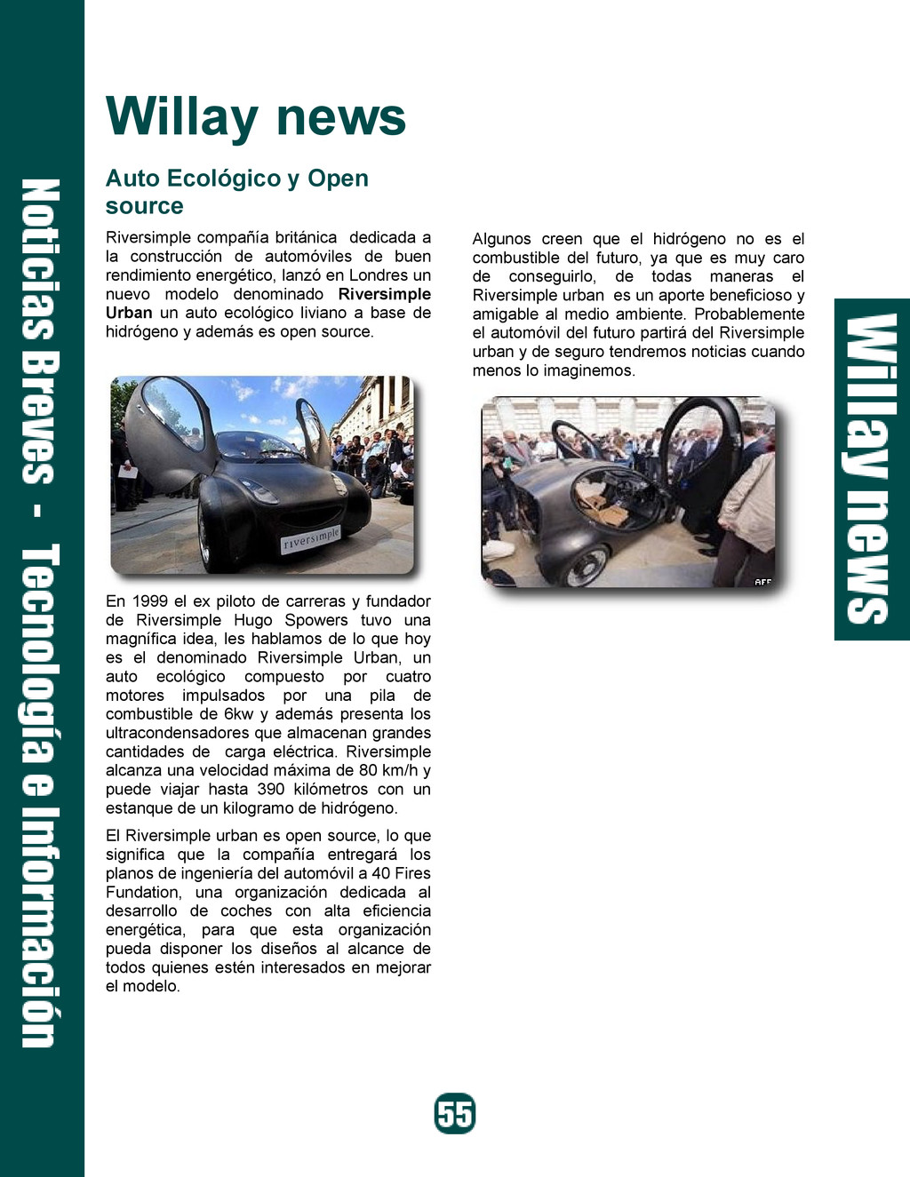Willay news Auto Ecológico y Open source Rivers...