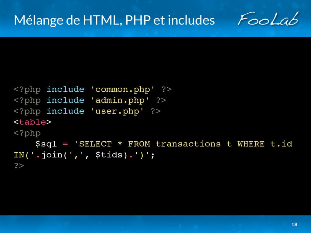 Mélange de HTML, PHP et includes <?php include ...