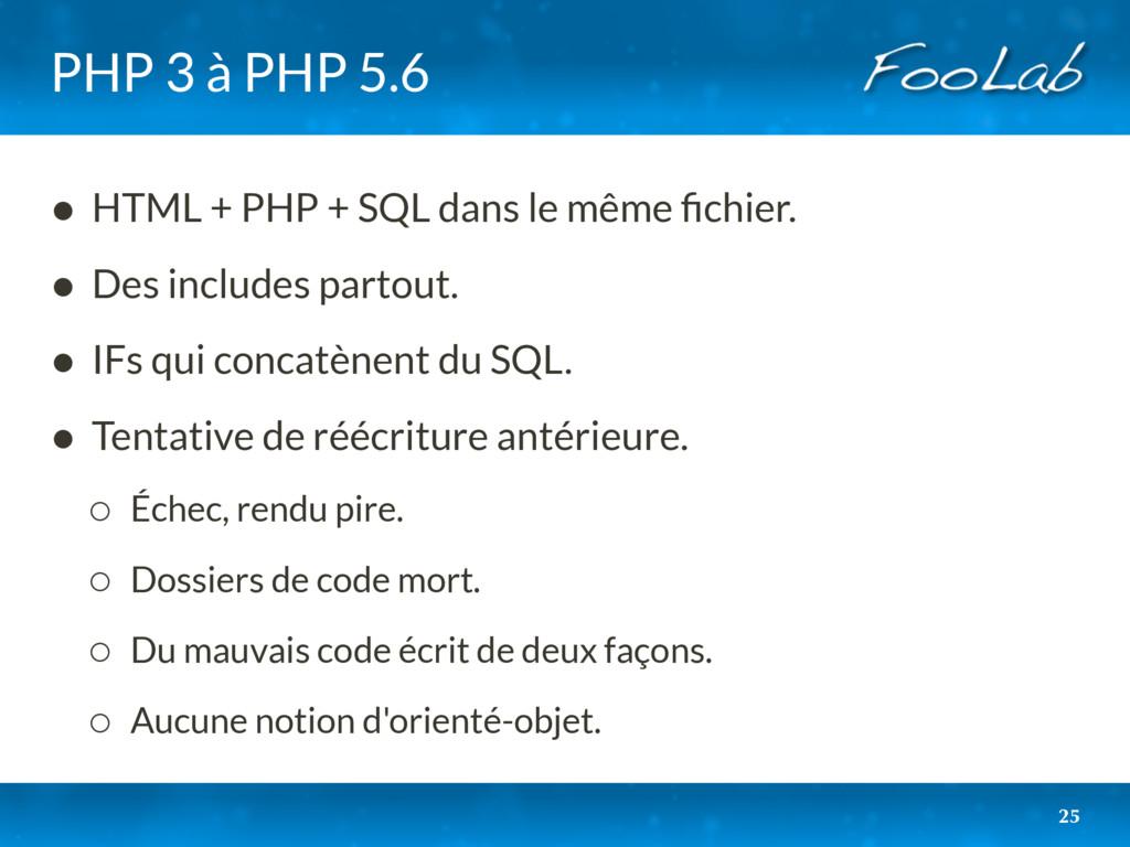 PHP 3 à PHP 5.6 • HTML + PHP + SQL dans le même...