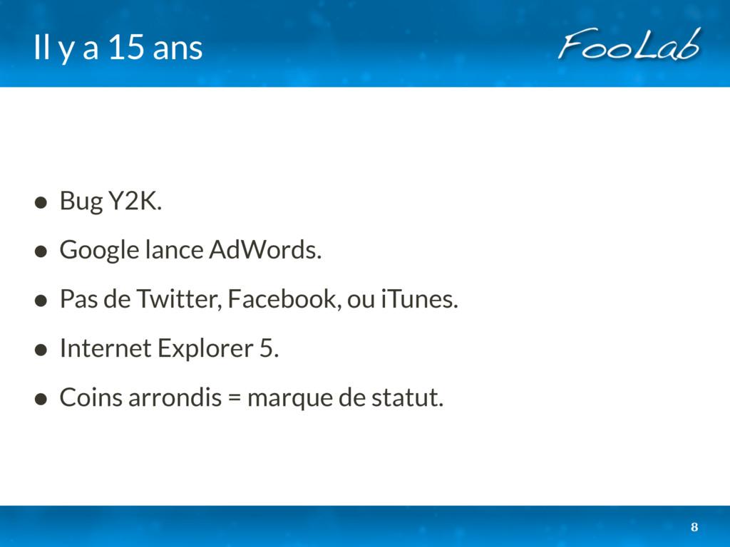 Il y a 15 ans • Bug Y2K. • Google lance AdWords...