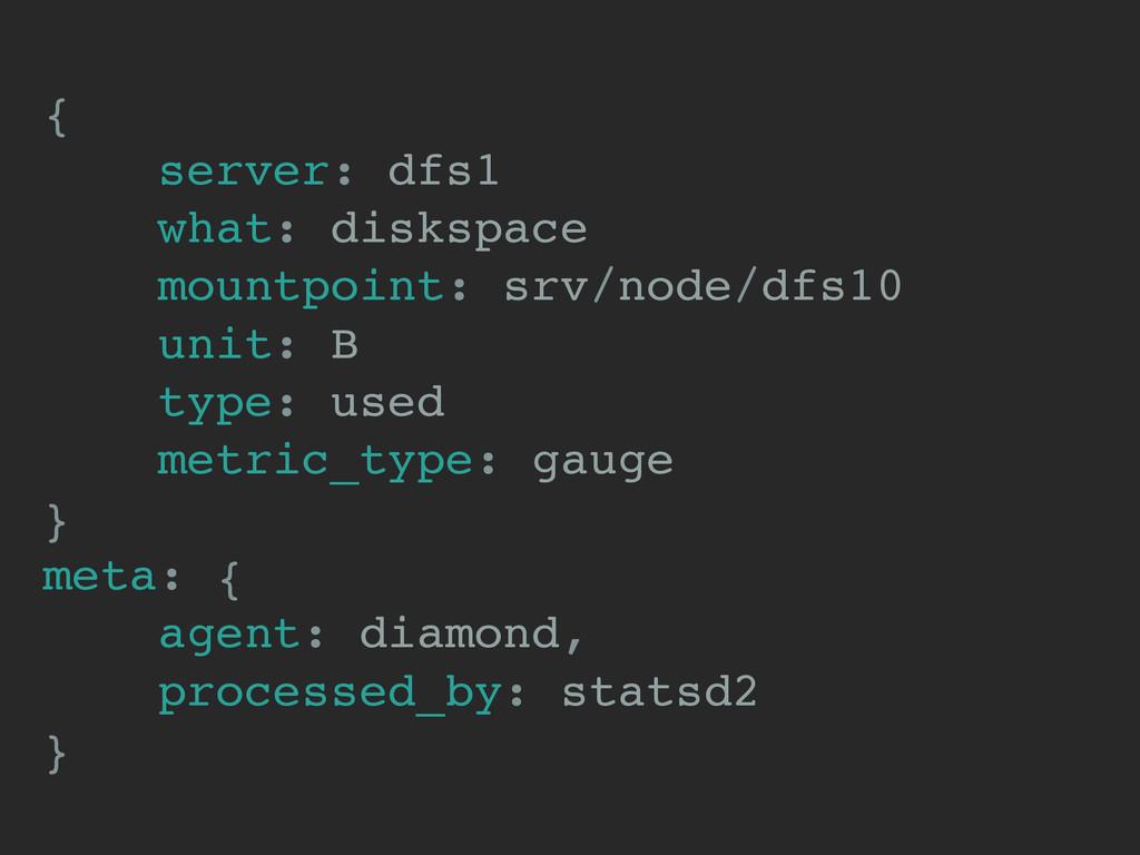 { server: dfs1 what: diskspace mountpoint: srv/...