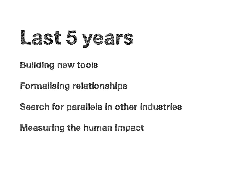 • Last 5 years • Building new tools • Formalisi...