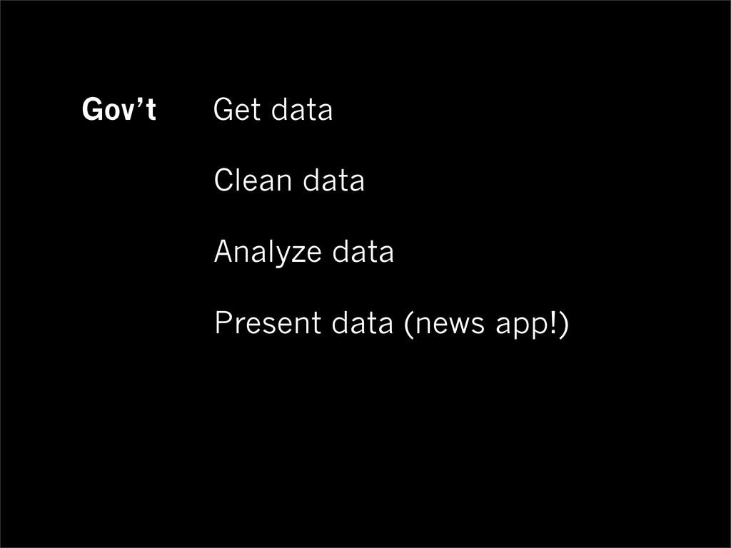 Gov't Get data Clean data Analyze data Present ...