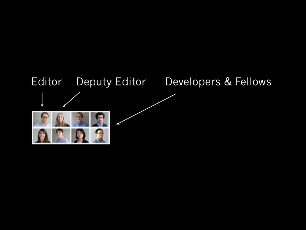 Editor Deputy Editor Developers & Fellows
