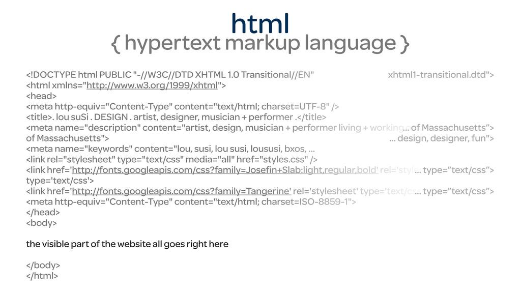 html { hypertext markup language } <!DOCTYPE ht...