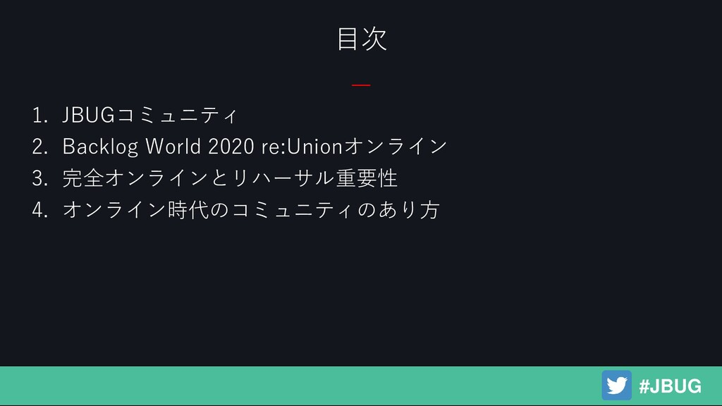 1. JBUGコミュニティ 2. Backlog World 2020 re:Unionオンラ...