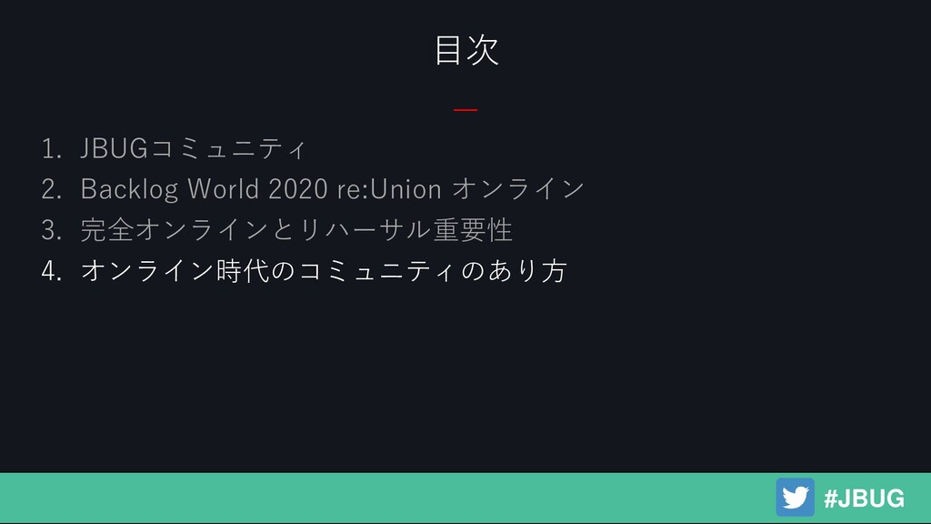 1. JBUGコミュニティ 2. Backlog World 2020 re:Union オン...