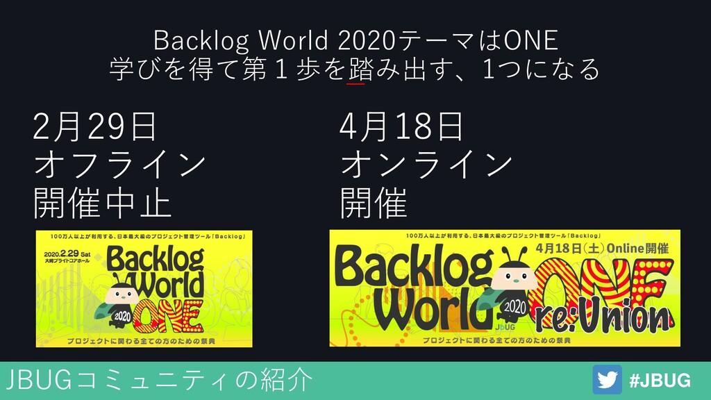 4月18日 オンライン 開催 #JBUG JBUGコミュニティの紹介 Backlog Worl...