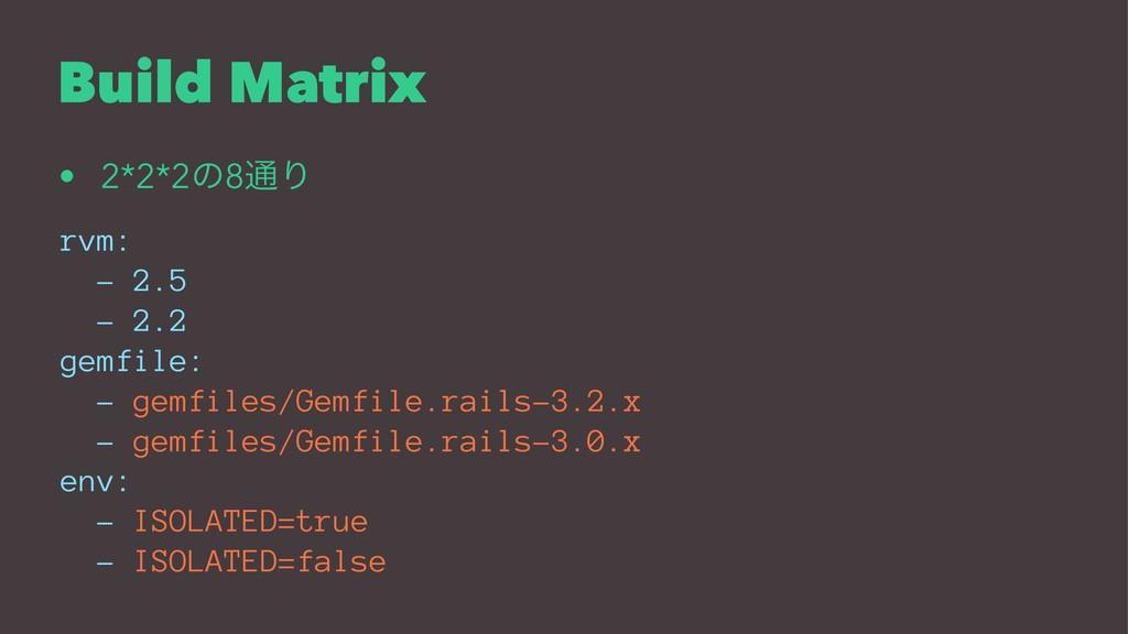 Build Matrix • 2*2*2ͷ8௨Γ rvm: - 2.5 - 2.2 gemfi...