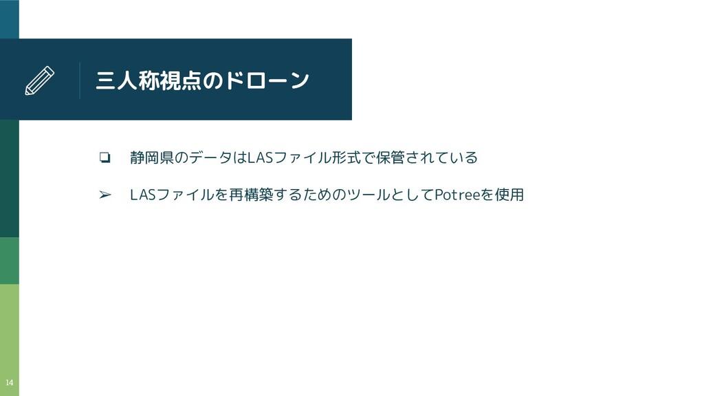 三人称視点のドローン ❏ 静岡県のデータはLASファイル形式で保管されている ➢ LASファイ...