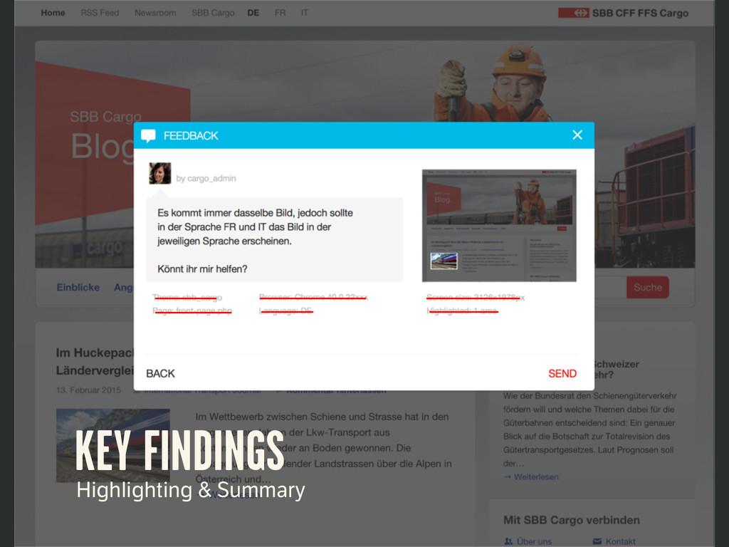 KEY FINDINGS Highlighting & Summary