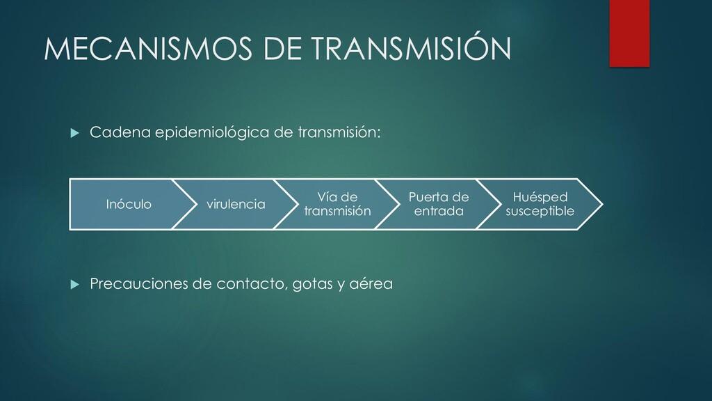 MECANISMOS DE TRANSMISIÓN  Cadena epidemiológi...