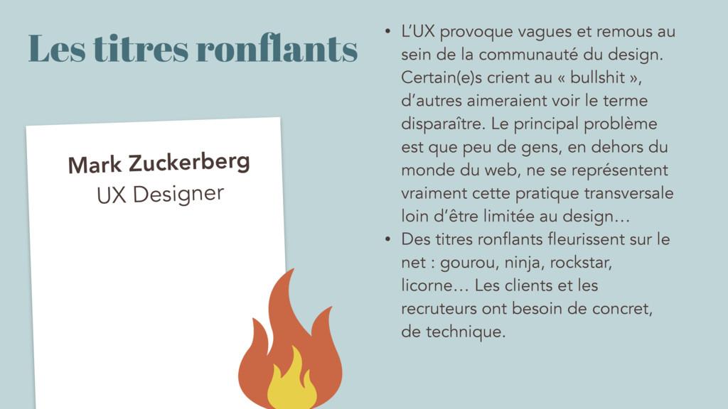 Les titres ronflants Mark Zuckerberg UX Designer...