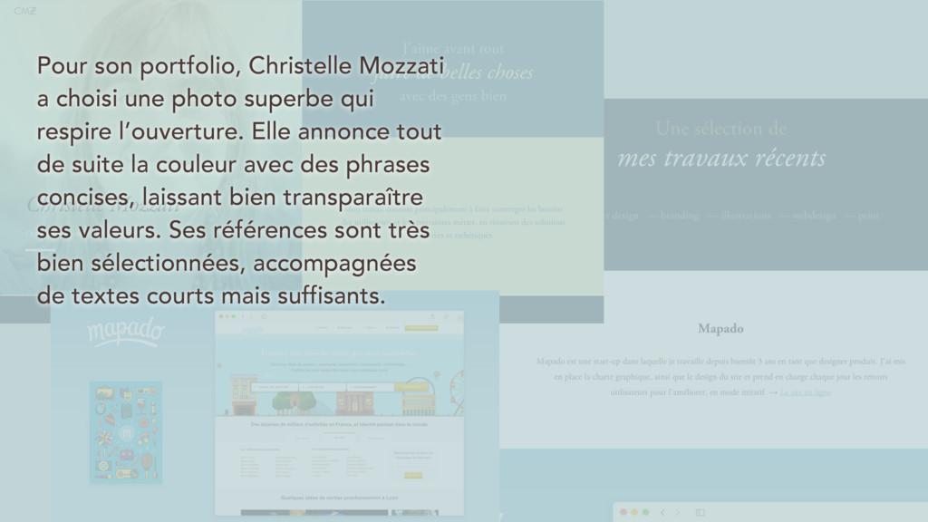 Pour son portfolio, Christelle Mozzati a choisi...