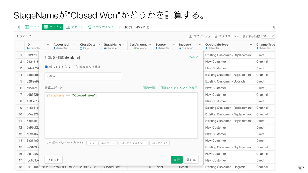 "StageName͕""Closed Won""͔Ͳ͏͔Λܭ͢Δɻ 127"