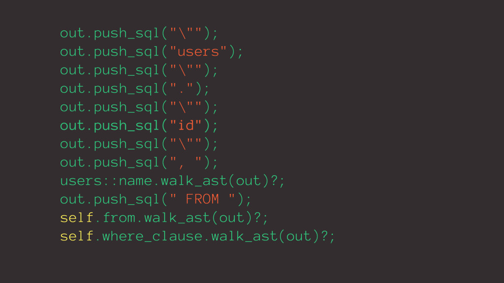 """out.push_sql(""""\""""""""); out.push_sql(""""users""""); out...."""