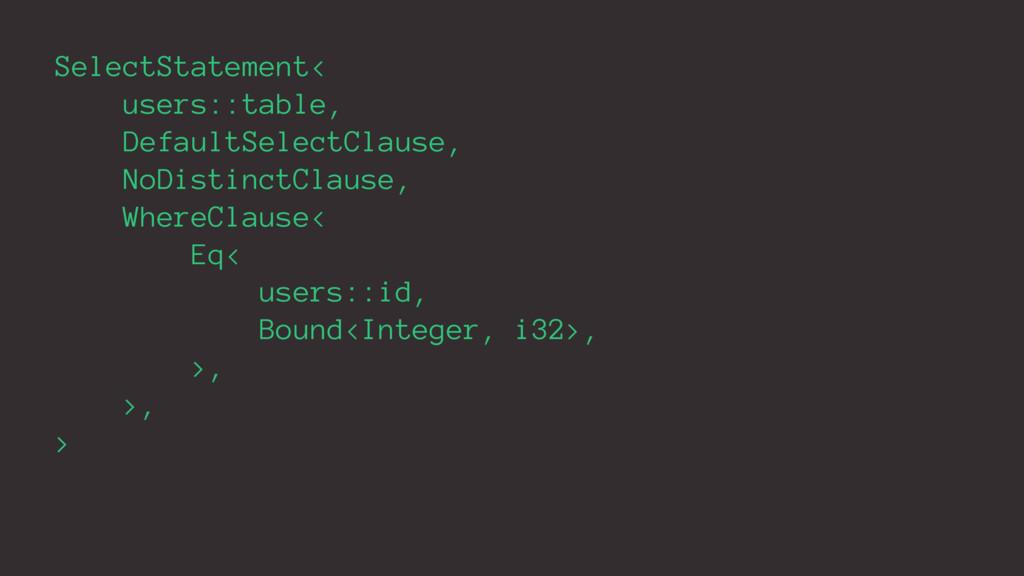 SelectStatement< users::table, DefaultSelectCla...