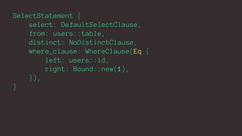 SelectStatement { select: DefaultSelectClause, ...