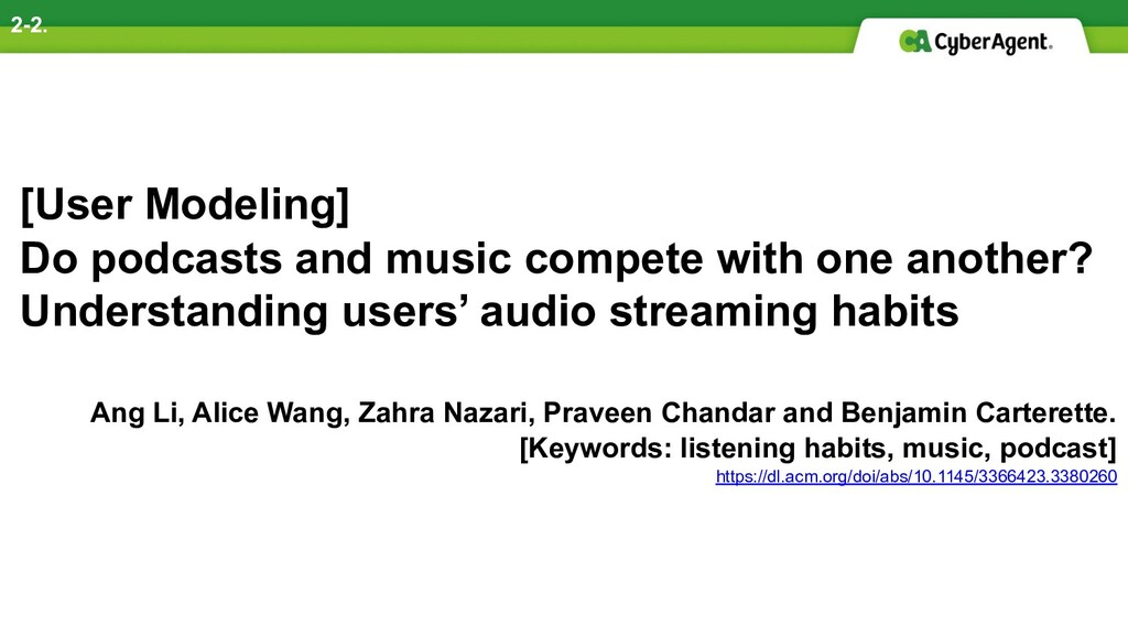 [User Modeling] Do podcasts and music compete w...