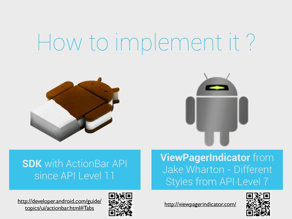 How to implement it ? SDK with ActionBar API si...